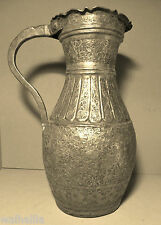 Persien  Teheran  Antike Vase   Pferde  Jagd auf Löwen Kupfer Versilbert