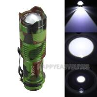 1200lm 7W Q5 LED Zoomable Mini Flashlight Torch Tactical Lamp Light 1 Mode Sport