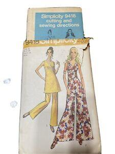 Vintage UC 1971 Simplicity 9418 Pattern Zip Sz 16 Jumpsuit Wide Leg Bell Bottom