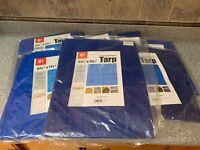 "LOT OF 7 BLUE 7' 6"" x 5' 6"" x 4 MIL BLUE POLY TARP"