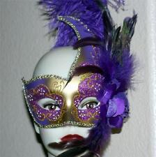 VENETIAN Mardi Gras Masquerade Ball Womens GOLD PURPLE SWAN MASK w/ FEATHERS New