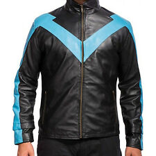 Nightwing blue and black 100% Real Leather Jacket Costume