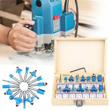 15 Pieces Tungsten Carbide Router Bit Set 14 Blue For Woodworking With Box