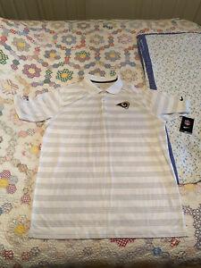 BNWT Nike St. Louis Rams Dri-Fit Polo Shirt L On Field Stay Cool NFL Golf