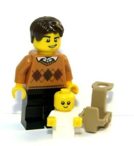LEGO Father Dad Minifigure & White Baby With Carrier Holder  Man Child Family