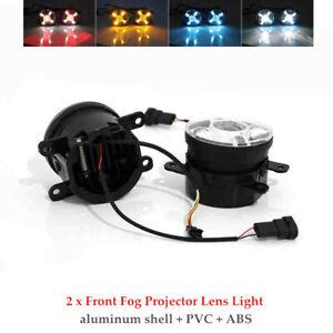 2PCS Car LED Projector Lens Spot Fog Lamps Adjustable Light w/Turn Signal Set