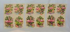 Vintage Pink FLAMINGO Small DECALS Liberty Company 12 Decals on SET OF 3 Sheets