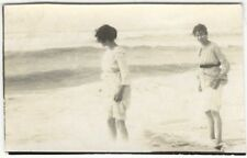 1910s Two Young Women Wade in the Surf on the Beach Seashore Snapshot