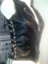 THE FEDERATION LEATHER LOOK WAISTCOAT ROCK CHIC BIKER STYLE