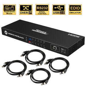 8 Port KVM Switch HDMI Video Audio Switcher IR RS232 RJ45 LAN USB 2.0