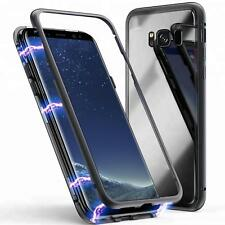 Magnet Bumper Case für Galaxy S7 edge S8 S9 Plus Handy Hülle Glas Metall Hülle