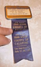 VINTAGE PIN BACK BADGE LOS ANGELES CA KNIGHTS OF PYTHIAS COURTS OF CALANTHE1941