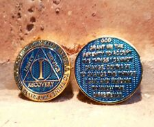 AA 1 / ONE YEAR RECOVERY CHIP REFLEX  BLUE GOLD PLATED MEDALION Sobriety Coin