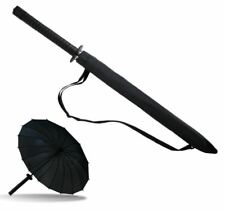 Japanese Ninja Handle Umbrella With Shoulder Sling Grip Auto Open Black Brolly