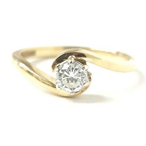 9ct Gold Ladies Solitaire Diamond Ring 0.20ct Twist Design 2.1g Size L
