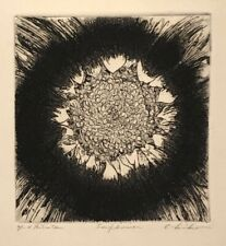 SIGNED VINTAGE ABSTRACT MODERNIST SUNFLOWER PORTRAIT BOTANICAL STUDY ETCHING