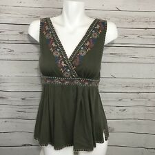 American Rag Cie Sleeveless Olive Green Embroidered V-Neck Top Waist Tie Small