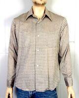 vtg 50s 60s Van Heusen Sportswear Olive Check Loop Collar Shirt ROCKABILLY sz M