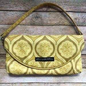PETUNIA PICKLE BOTTOM Change-It-Up Clutch- Gold Mustard Retro Print Diaper Bag