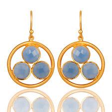 Blue Chalcedony 18K Gold Plated Silver Dangle Earrings Gemstone Jewelry