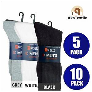 5 10 PAIRS MENS PLAIN THICK SPORTS SOCKS COTTON BLEND BLACK WHITE GREY UK 7-11