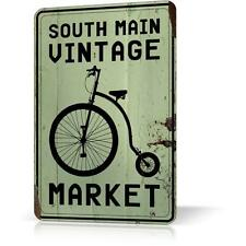 METAL TIN SIGN SOUTH MAIN VINTAGE MARKET Bike Retro Decor Home Wall Pub Garage