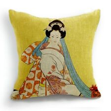 Retro Style Japanese Woman Flower Kimono Home Pillow Case Cushion Cover 18''