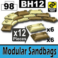 BH12-1 (W229) Army Modular Sandbags compatible w/toy brick minifig Tan and Dark