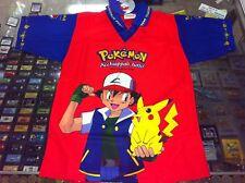 MAGLIETTA T-Shirt POKEMON ACCHIAPPALI TUTTI Blu Rossa Originale con Pikachu +Ash