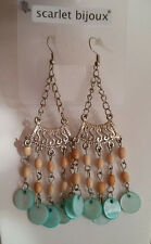 Ohrhänger Ohrringe 9 cm silberfarben Holzperlen beige perlmutt türkis blau *NEU*