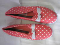 American Sweetheart PINK POLKA DOT Forget-Me-Knot Slip-On Women's shoes ECN38