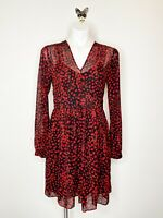Michael Michael Kors Women's Red Black V Neck Sheer Polka Dot Dress Size 8
