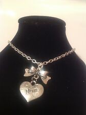 mum bow anklet silver plated