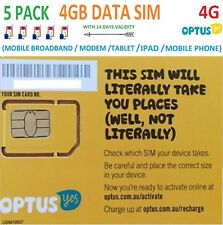 OPTUS 5 PACK of 4GB DATA SIM CARD 4G MICRO/NANO SIZE PREPAID BROADBAND