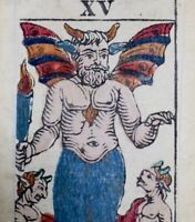 c1850 The DEVIL Antique Tarot Playing Cards Major Arcana Stencil Painted Single