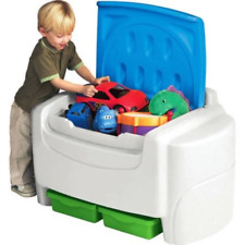 Kids Sort Store Play Toy Storage Chest Bin Toddler Detach Lid White and Blue