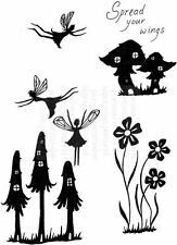 Lindsay Mason Clear Stamps FAIRY MUSHROOMS fantasy fairies mushrooms house