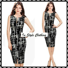 Reduced-CYNTHIA-BEAUTIFUL LADIES BLACK WHITE SIZE 8 SLEEVELESS PENCIL DRESS
