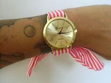Montre bracelet foulard fantaisie tissu rayures rouges framboise blanches pinup