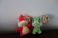 2 Neopet Plushie Clips Key Chain: Green Ixi, Red Scorhio New with tags
