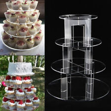 Cupcake Stand 4 TIER ROUND - Clear Acrylic Display Tower for Wedding & Party UK