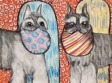 Miniature Schnauzer Collectible Dog Art Print 4x6 Artist Signed Ksams Quarantine