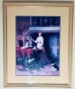 Fabulous Print Painting A Lady With Her Dog In Fabulous Wooden Gold Frame