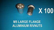 100X ALUMINIUM RIVNUTS M5 NUTSERT RIVET NUT LARGE FLANGE NUTSERTS RIVNUT RIV NUT