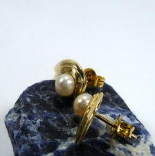 333/8 Kt Gold Women's Ear Studs Earring Ear Jewelry Pearls