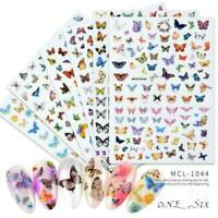 3D Butterfly Nail Stickers Colorful Water Transfer Decal Nail Art Decorations UK