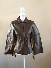 RAMPAGE LEATHER WESTERN / BOHO FRINGE ZIP UP JACKET~BROWN~SMALL~NWOT~SO UNIQUE!