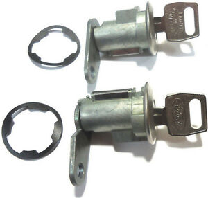 NEW PAIR FORD DOOR LOCK KEYED CYLINDER W/2 OEM FORD OVAL LOGO KEYS TO MATCH