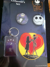 NIGHTMARE BEFORE CHRISTMAS COLLECTOR SET Keychain + 2 x Badges+Patch NEW MERCH