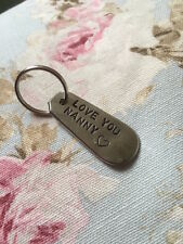 "Handmade Antique Silver Plated Cutlery Keyring Fob ""Love You Nanny"" Gift"